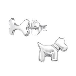 Unterschiedliche Ohrstecker Hund & Knochen: Silber Ohrringe