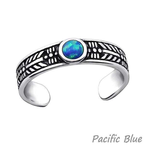 Zehenring Silber 925: Bali Zehring mit Opal