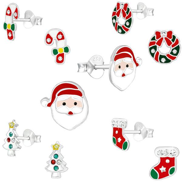 Weihnachtsohrringe  Kinder Ohrstecker  925 Silber Ohrringe Weihnachten  Nikolaus