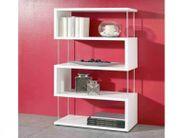 Bücherregal Raumteiler Weiß 5 Fächer 126x66cm