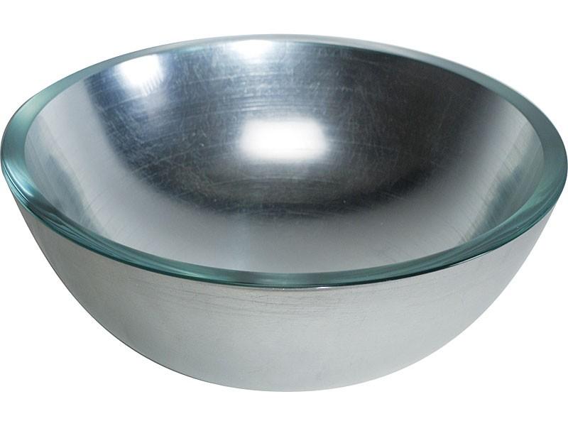 Glaswaschbecken Handwaschbecken silber 30cm Design Lineabeta  001