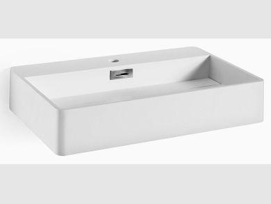 Waschbecken Aufsatzbecken Mattstone weiß bruchfest 68x43cm Lineabeta