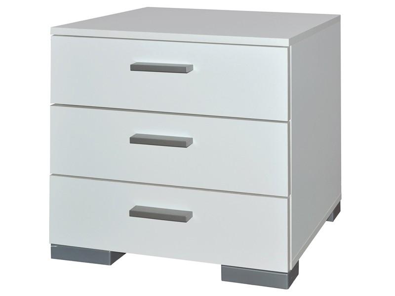 Kommode 3 Schubladen Nachttisch Weiß matt 001