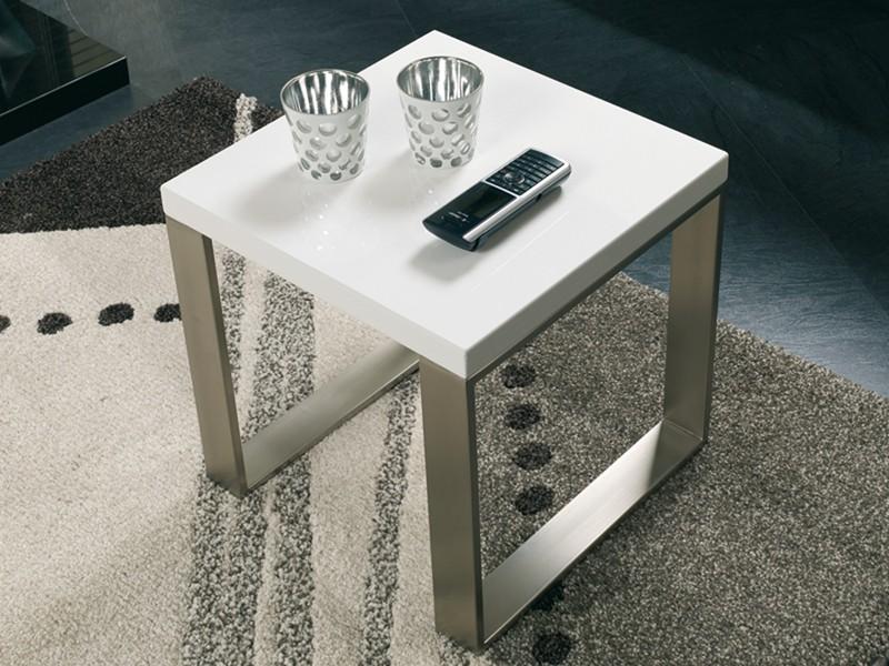 Beistelltisch Weiss Gestell Edelstahl Optik Mobel Mobel Tische
