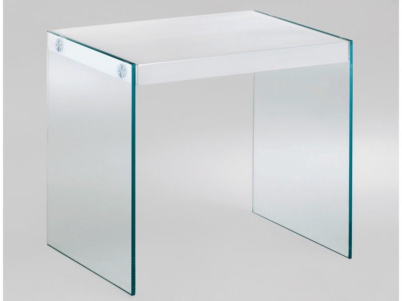 Beistelltisch Glas 40x35 Tischplatte weiß Hochglanz 001