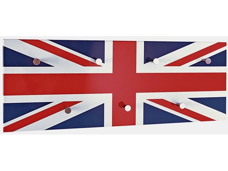 Wandgarderobe Union Jack Weiß Rot Blau Chrom 001