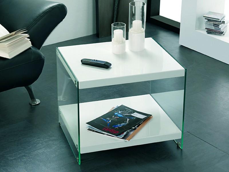 Beistelltisch Glas Tischplatte 55x48 weiß Hochglanz 001
