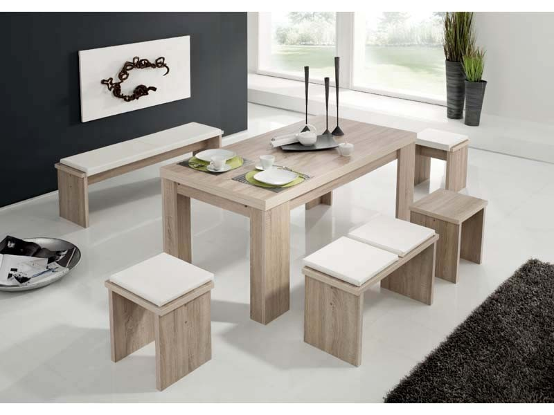 Esstischgruppe Eiche sägerau Tischbruppe 1 Tisch 1 Bank 2 Hocker   001