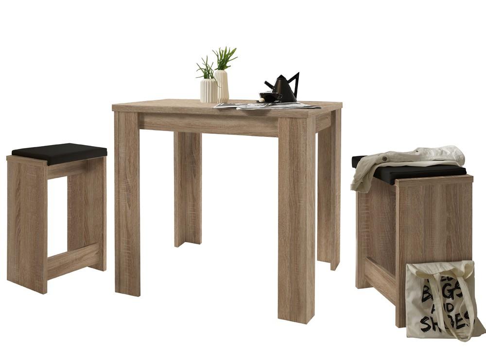 Bartisch Set 5-teilig ein Tisch 4 Hocker Eiche sägerau Sale 001