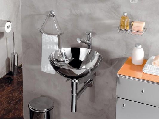 Handwaschbecken Edelstahl 24cm  Aufsatzbecken poliert rund Lineabeta Acquaio 001