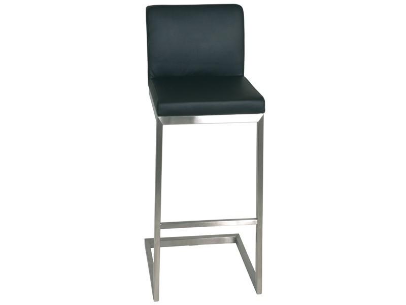Barstühle 2 Stück mit Rückenlehne Edelstahl Leder schwarz Sale 001