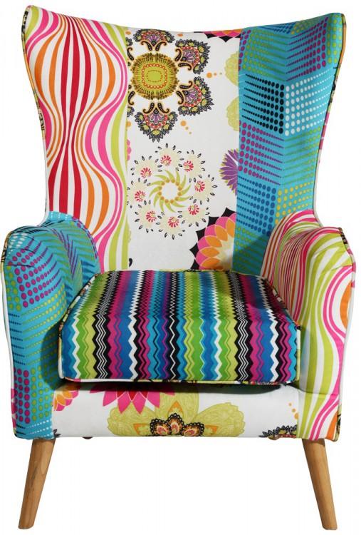 Armlehnstuhl Sessel Blau Patchwork Design bis 160 kg belastbar
