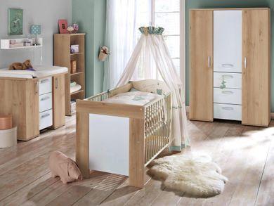 Babyzimmer SET 2 teilig Kinderbett Wickelkommode Eiche sägerau Michi