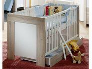 Babyzimmer Set 3 teilig Wickeltisch Schrank Babybett Eiche Sägerau Weiß