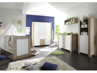 Babyzimmer Set 2 teilig Kinderbett Wickelkommode Sanremo hell