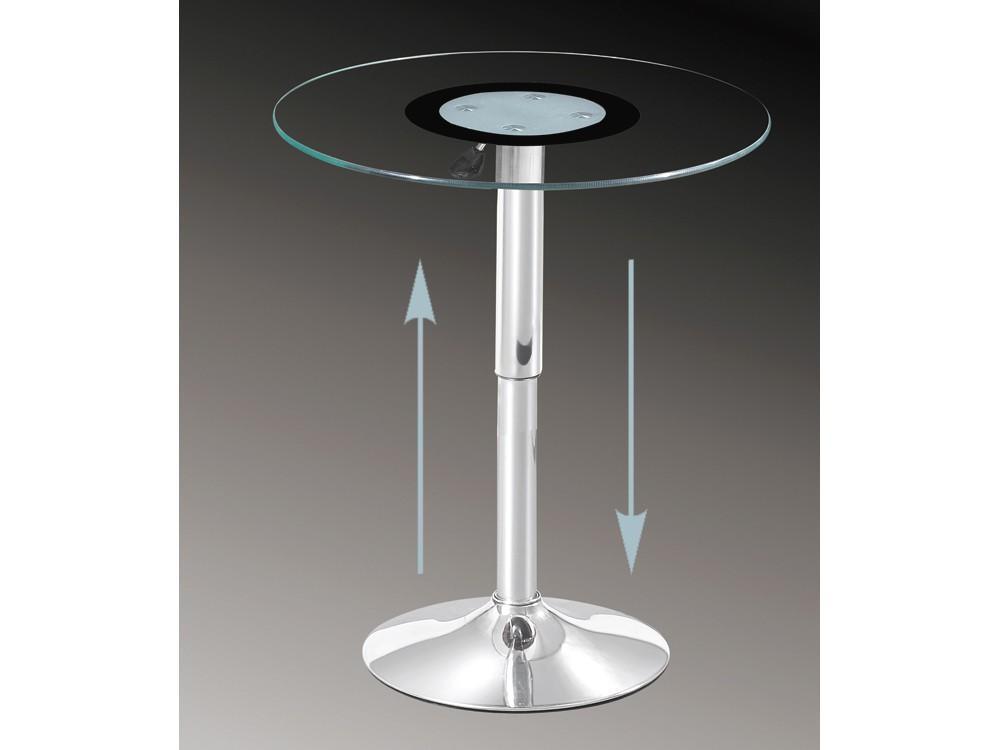 Glastisch rund h henverstellbar beistelltisch 60 cm for Designer glastisch auf rollen