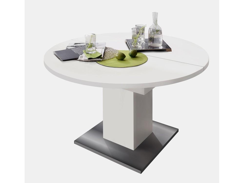 Esszimmertisch rund 120 cm Ausziehtisch weiß matt 001