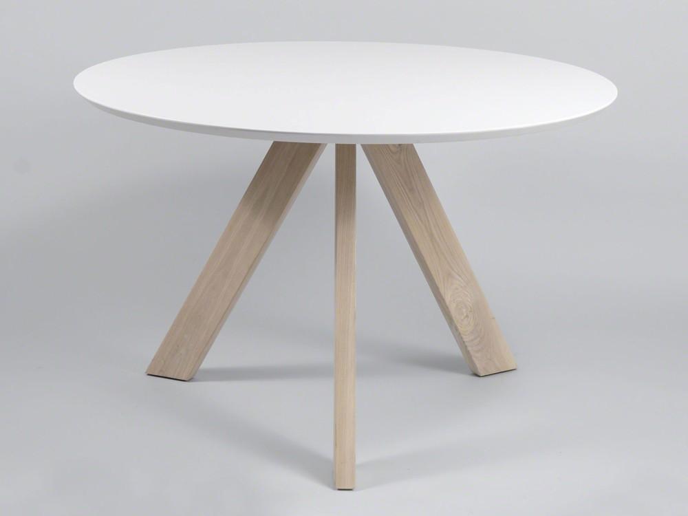 Tischplatte weiß matt  Esszimmertisch rund 120cm Gestell Eiche Massiv Tischplatte weiß