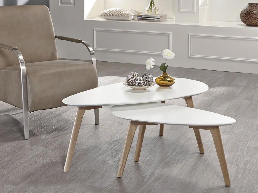 couchtisch nierentisch wohnzimmertisch 100x50 wei eiche. Black Bedroom Furniture Sets. Home Design Ideas
