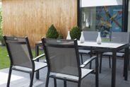 2 Stapelsessel Gartensessel Aluminium anthrazit Textilbezug