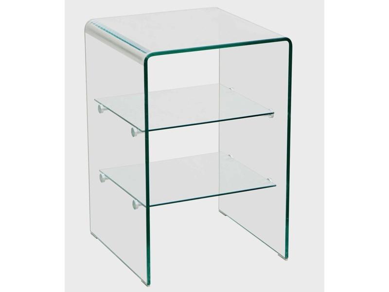 Glasregal Badezimmer Regal gewölbtes Glas 2 quadratische Einlegeböden