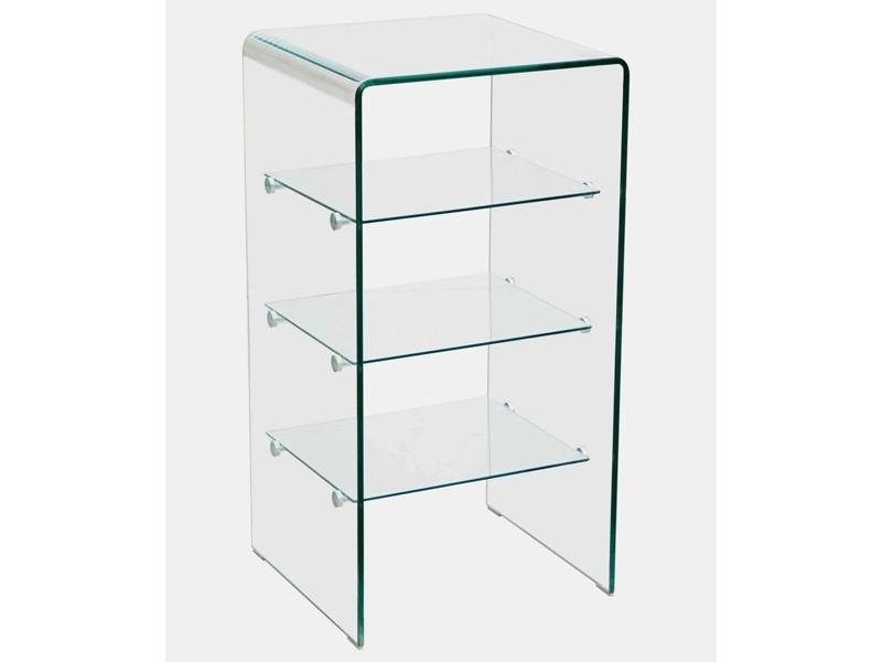 Glasregal Badregal hohes Glasmöbelaus gebogenem Glas 3 Einlegeböden 40x80x40cm 001