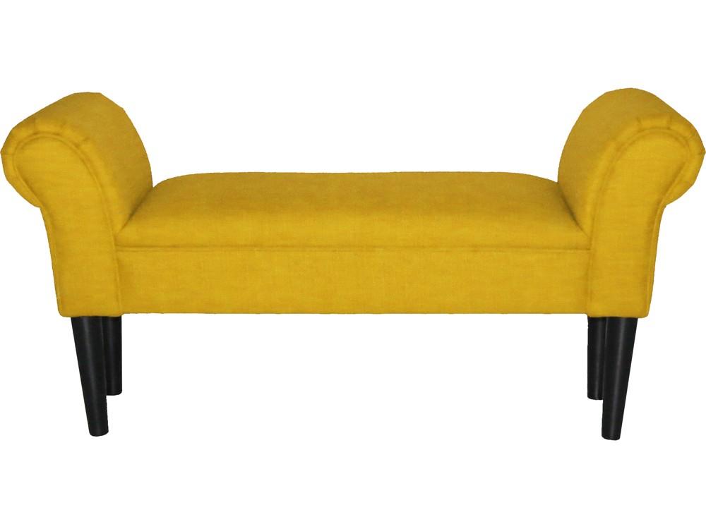 Sitzbank mit Armlehnen gepolstert Stoffbezug gelb 001