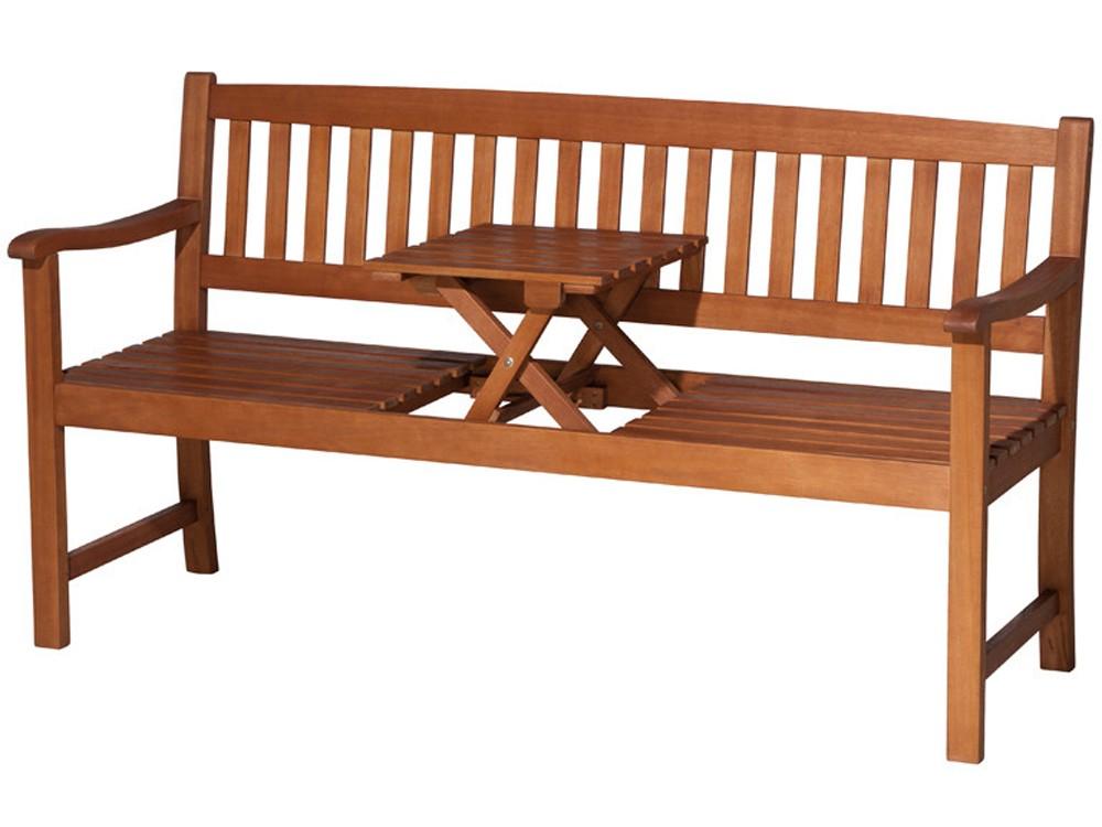 Holz Gartenbank Hockerbank 3-sitzig mit Klapptisch Akazienholz Natur  001