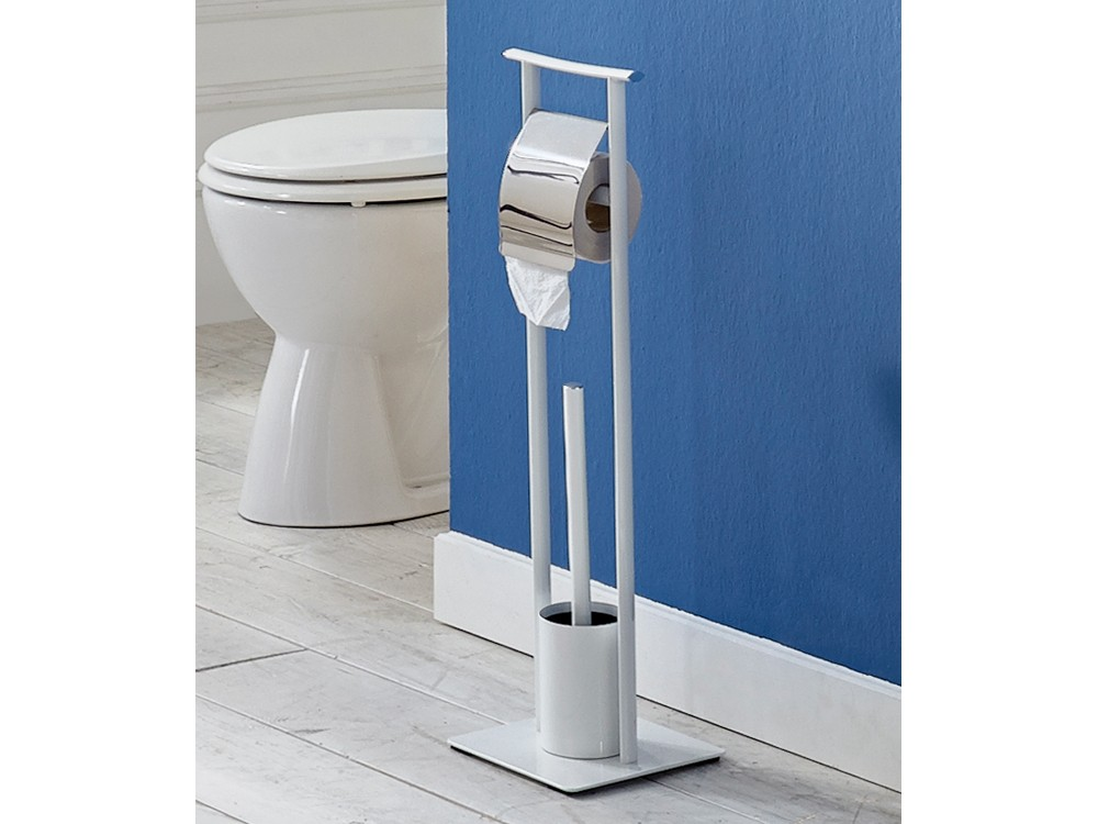 Toilettenbutler Weiß Chrom WC-Garnitur Toilettengarnitur WC-Bürste 001
