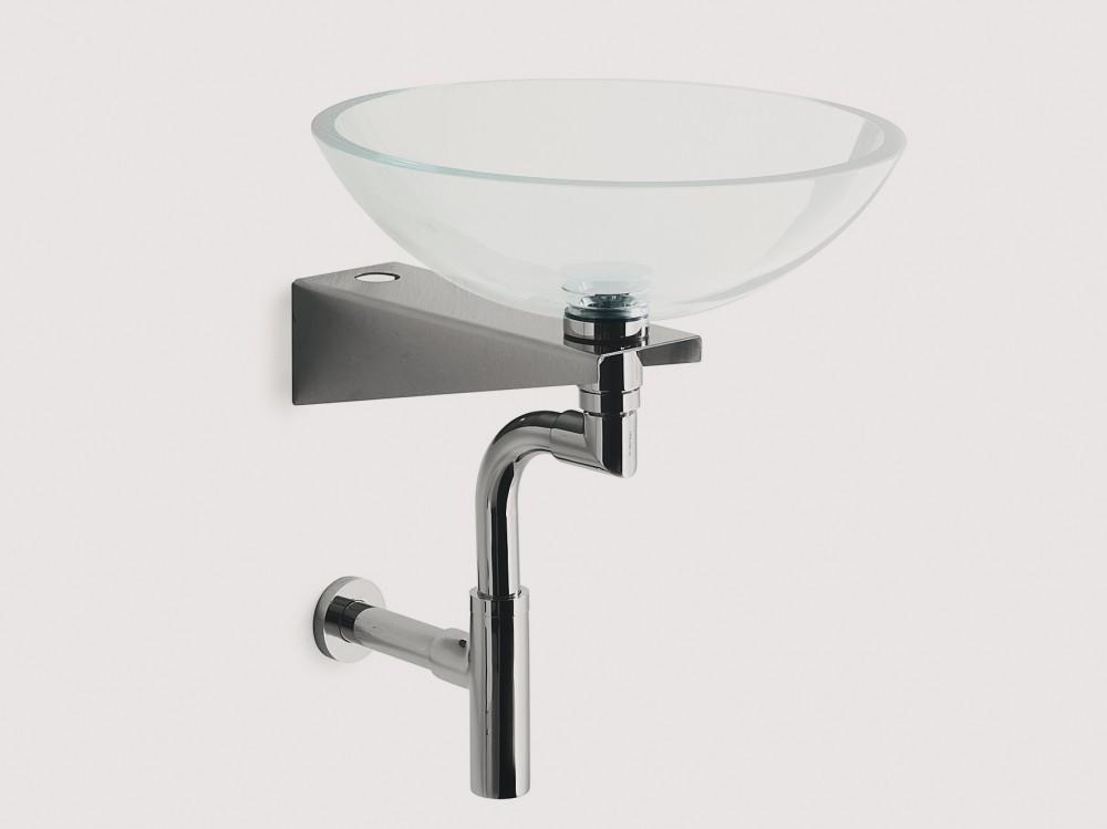 Glaswaschbecken Waschtisch satiniert komplett 42cm rund Acquaio 001