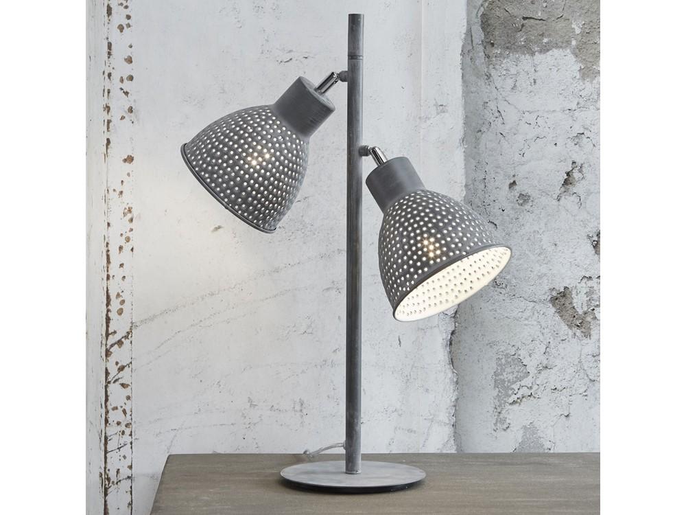 Tischlampe Design Metall grau 2-flammig Höhe 73 cm 001