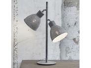 Tischlampe Design Metall grau 2-flammig Höhe 73 cm