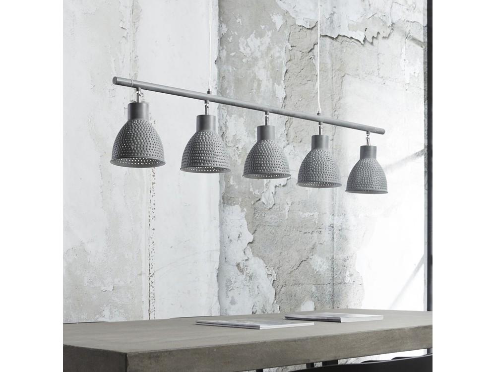 deckenlampe balkenlampe grau 5 flammig breite 124 0 cm metall grau. Black Bedroom Furniture Sets. Home Design Ideas