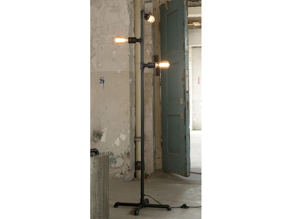 stehlampe industrie design 3 flammig metall schwarz lampen lampen stehlampe tischlampe. Black Bedroom Furniture Sets. Home Design Ideas