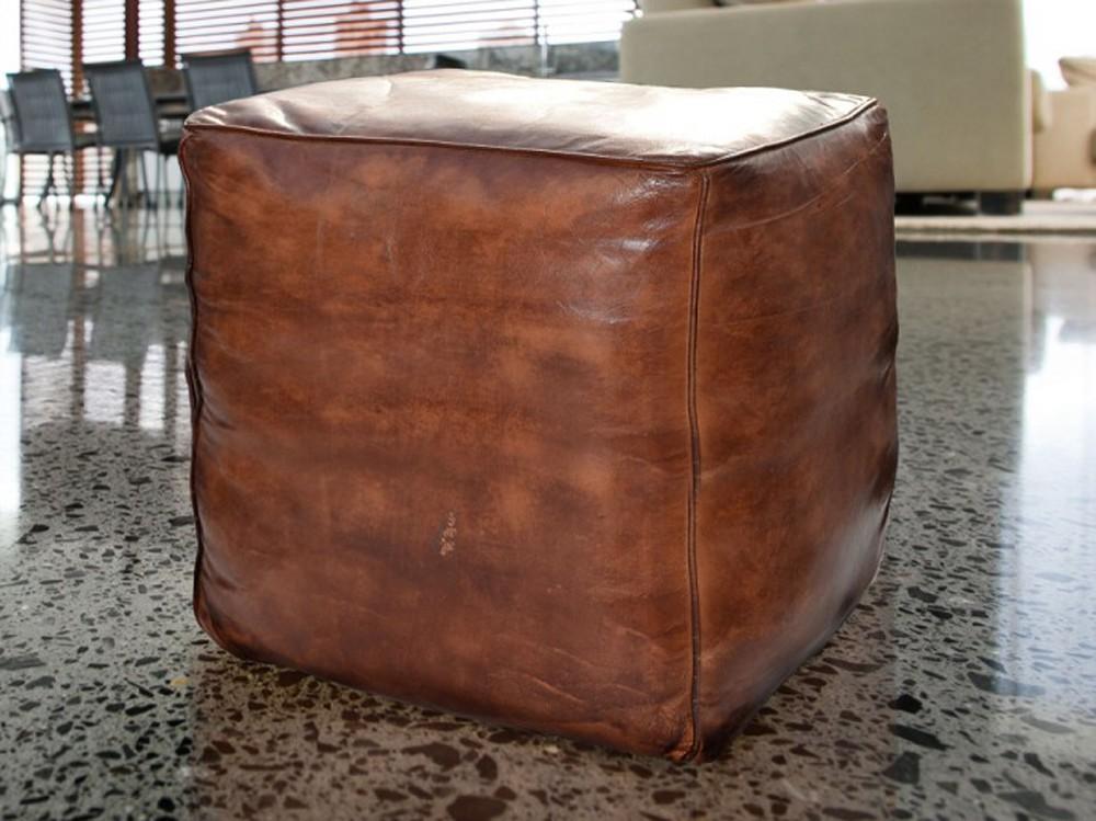 Sitzhocker Lederhocker Sitzwürfel Pouf Antikleder Look Vintage Braun
