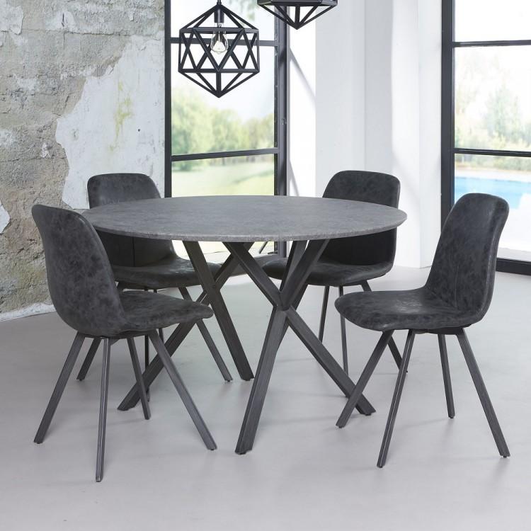 Esszimmertisch rund 120 cm betonoptik Konferenztisch Kreuzgestell   001