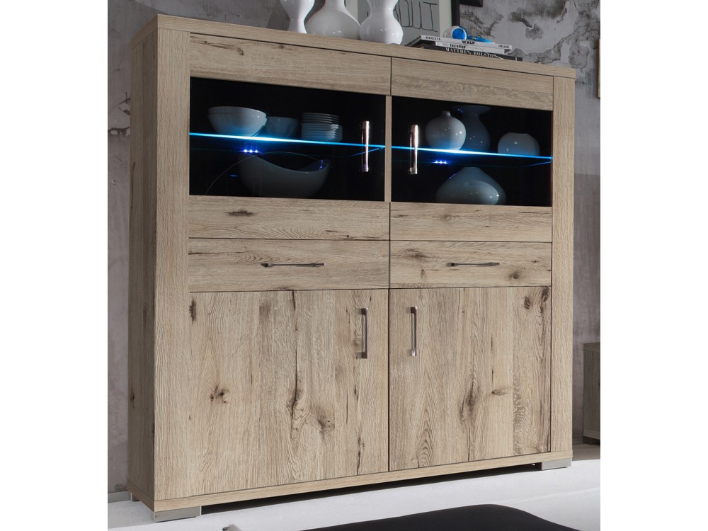 highboard vitrine mit glast ren 134x148x45cm dekor sandeiche. Black Bedroom Furniture Sets. Home Design Ideas