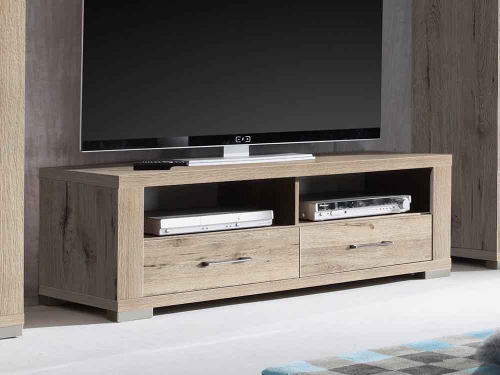Lowboard  Sandeiche hell TV-Schrank Fernsehschrank 134cm, 001