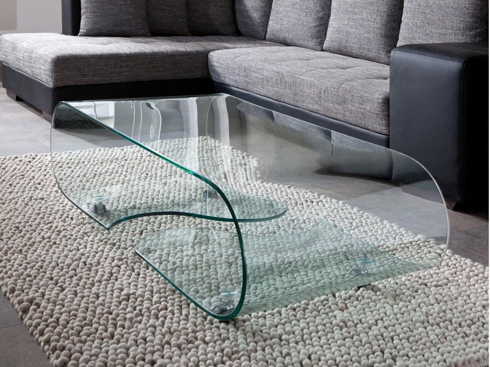 Couchtisch Glastisch auf Rollen, Länge 90 cm, Glasdesign 001