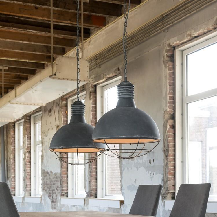 Deckenlampe Esstischlampe aus Metall grau 2-flammig mit Gitternetz 001