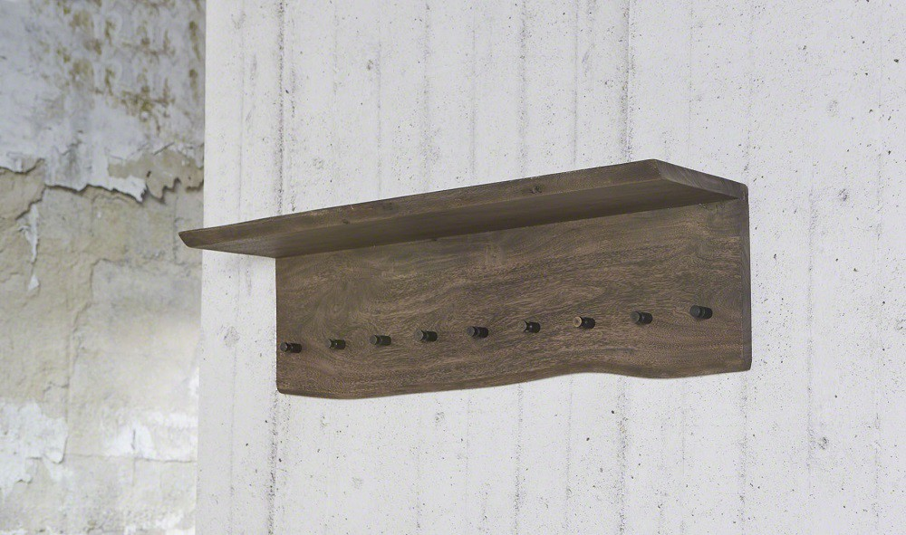 Wandgarderobe mit Hutablage aus Massivholz dunkel 001