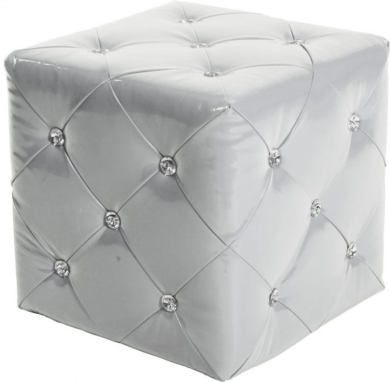 Sitzwürfel Polsterhocker 40x40 Weiß glänzend gesteppt mit Strasssteinen 001