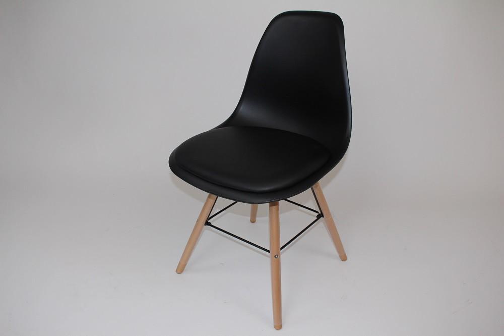 Schalenstuhl schwarz 2er Set Sitzfläche gepolstert Holzbeine  001