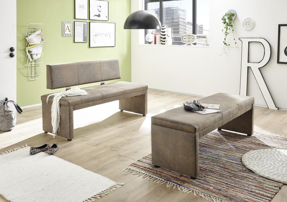 Sitzbank mit Lehne gepolstert Esszimmerbank Vintage Braun 001