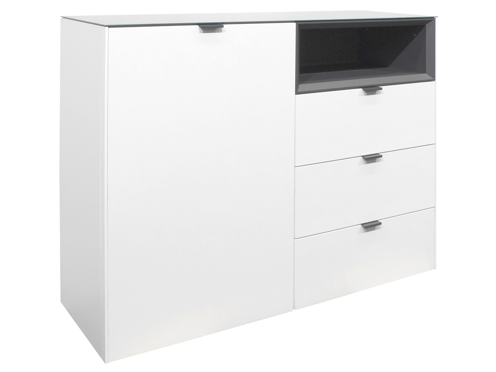 Highboard Sideboard Kommode Weiss Lack Matt Mit Anthrazit 118x97 Micelli