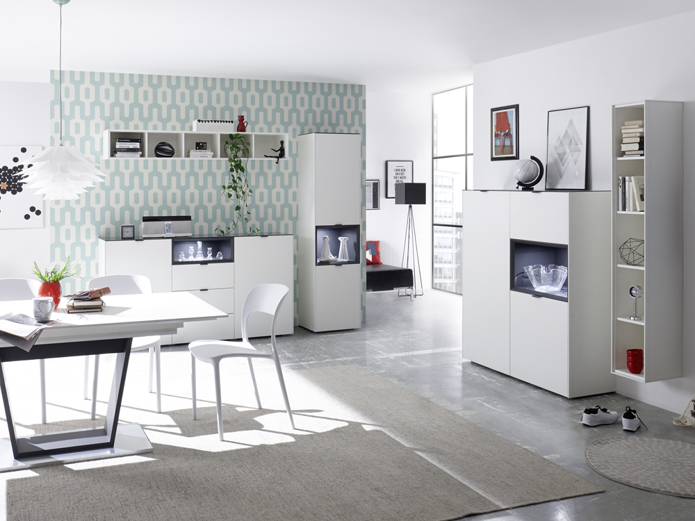 highboard sideboard kommode wei lack matt mit anthrazit 118x97 micelli. Black Bedroom Furniture Sets. Home Design Ideas