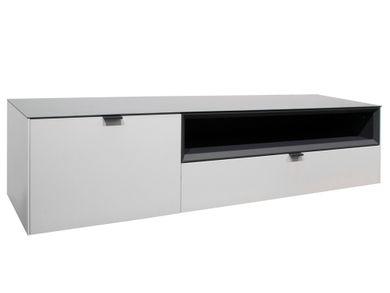 TV Regal Lowboard Fernsehschrank 177cm Schublade weiß anthrazit Micelli