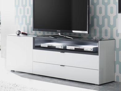 Lowboard TV Regal Fernsehschrank 177cm Weiß matt mit Anthrazit Micelli
