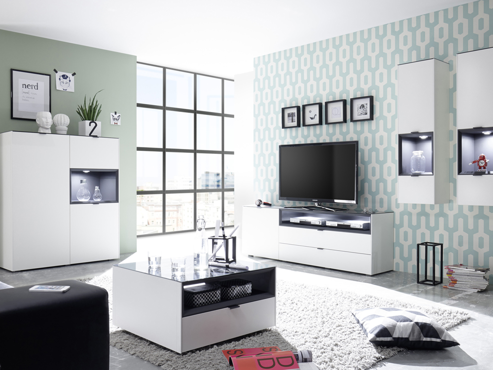 highboard kommode schubladen wei mit anthrazit lack matt micelli. Black Bedroom Furniture Sets. Home Design Ideas