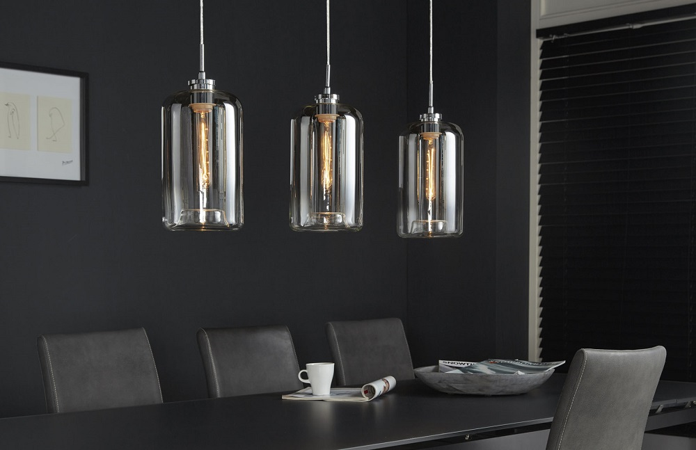 Hängelampe edle Esstischlampe Glas grau metallic finish 3 Flammig  001